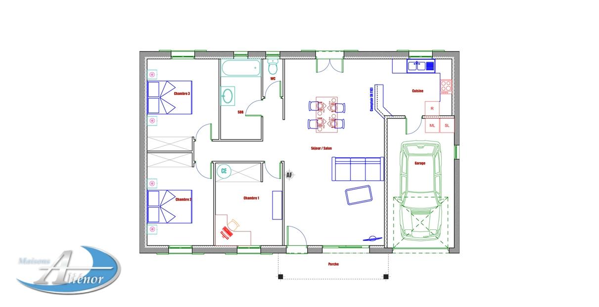 Plan Maison Traditionnelle 33 Bergerac Dordogne 24 Faire Construire Terrain A Vendre Maisons Alienor Maisons Alienor