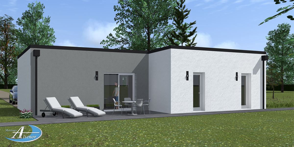 Plan maisons moderne toit plat sarlat dordogne maisons for Plan villa basse moderne
