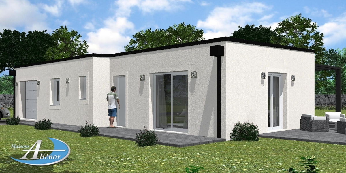 Plan maison moderne toit plat perigueux 24 dordogne for Maisons alienor