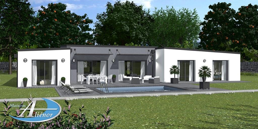 Plan maison épona maison moderne toit plat enduit gris et blanc constructeur 24 et 19 Dordogne 1