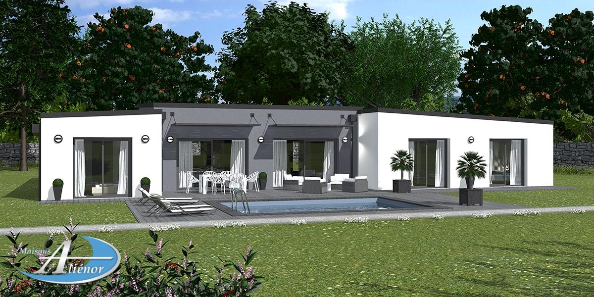 Plan Maison Epona Maison Moderne Toit Plat Enduit Gris Et Blanc Constructeur 24 Et 19 Dordogne 1 Maisons Alienor
