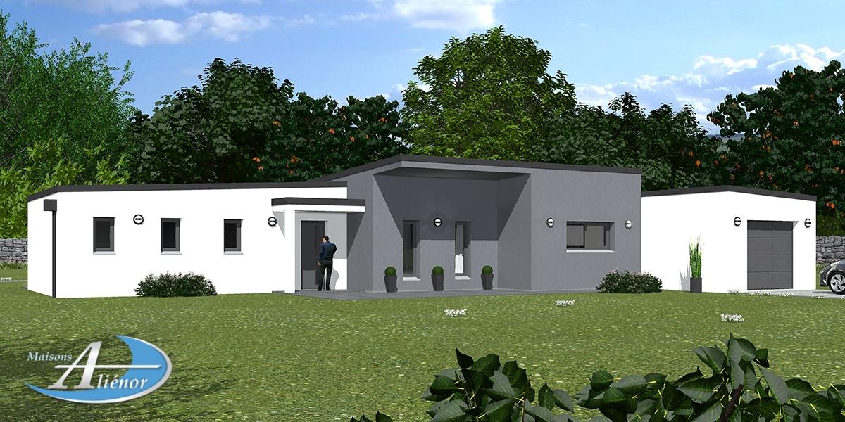 Plan maison épona maison moderne toit plat enduit gris et blanc ...