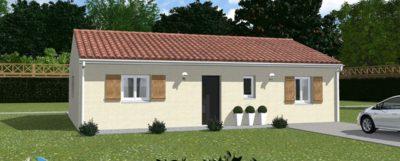 Maison traditionnelle de 80m², 3 chambres avec placard et garage Sur un terrain arboré de 1200m² plat avec le tout à l'égout.