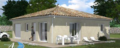 Maison à proximité de Brantôme de 90 m², 3 Chambres avec garage sur un terrain plat .